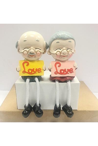 Ayd Oturan Yaşlı Dede Ve Babaanne Figürlü Romantik Çift Biblo