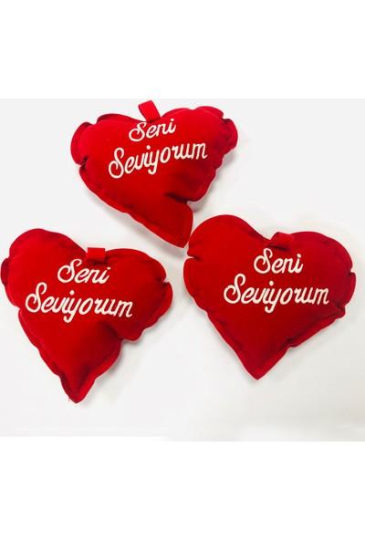 Ayd Sevgiliye Hediye Seni Seviyorum Yazılı Küçük Kalpli Yastık