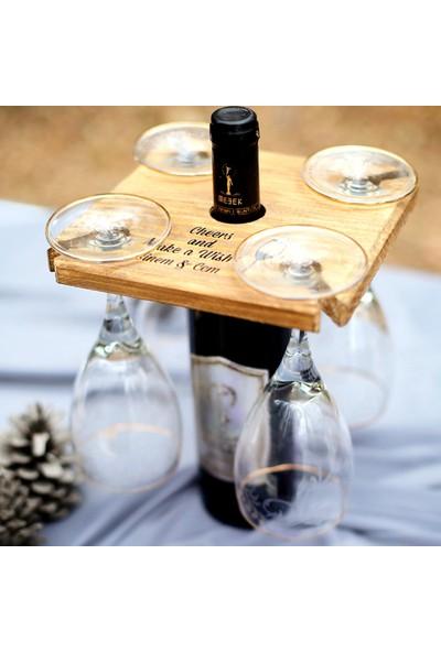 Goodbutwood Winetastic Four Kişiye Özel Ahşap Şarap Sunum Tablası