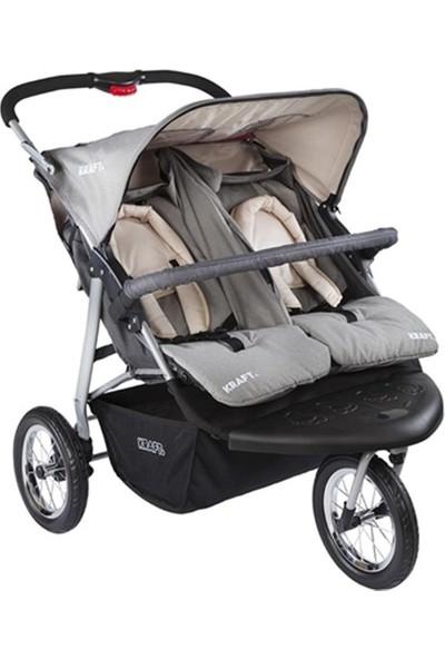 Kraft Wow İkiz Yan Yana Bebek Arabası - Gri