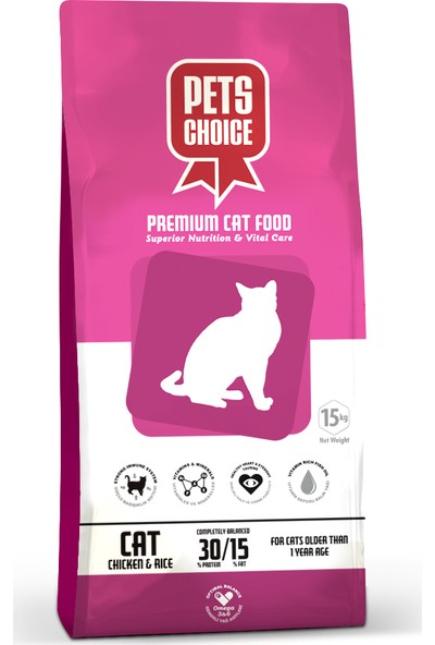 Pets Choice Pets Choice Tavuk Etli Yetişkin Kedi Maması 15 Kg.