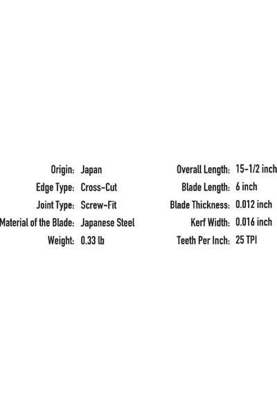 Suizan Dozuki Dovetail Japon Testeresi 15 Cm