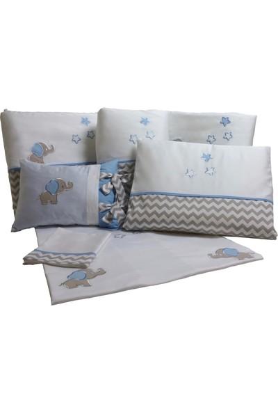 Pudra Decor Küçük Fil Mavi Gri Zigzaglı Bebek Uyku Seti