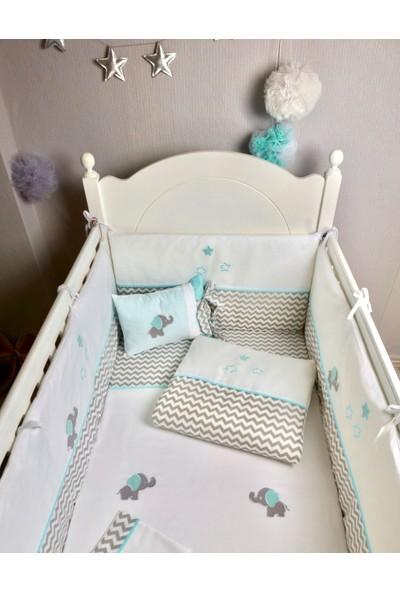 Pudra Decor Küçük Fil Mint Gri Zigzaglı Bebek Uyku Seti