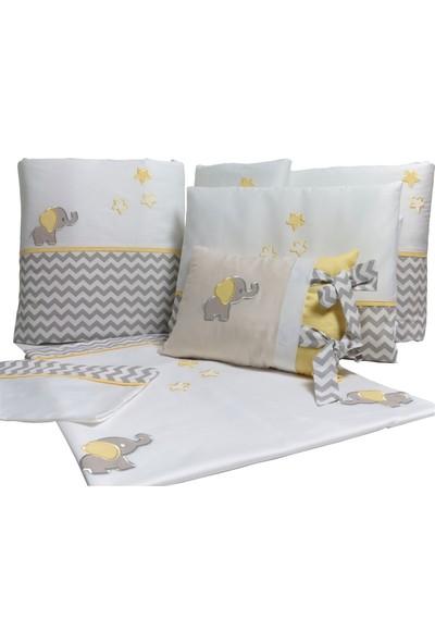 Pudra Decor Küçük Fil Sarı Gri Zigzaglı Bebek Uyku Seti