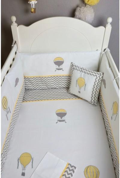 Pudra Decor Uçan Balonlar Sarı Gri Zigzaglı Bebek Uyku Seti