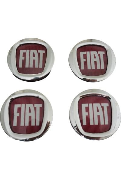 Bross Otomotiv BSP857 Fiat İçin 4 Adet 50Mm Kırmızı Jant Göbek Arması 0735448759