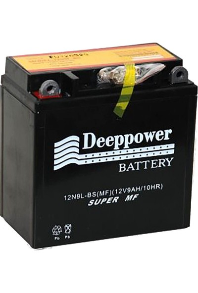 Deep Power Motorsiklet Aküsü 12N9L-Bs (12V9Ah/10Hr)Dik Motor Aküsü