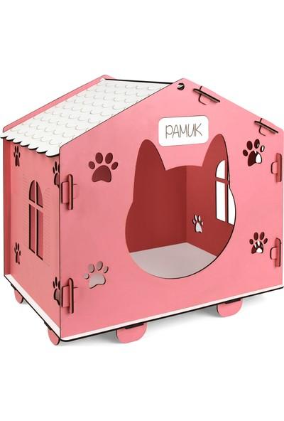 Morvizyon Cat House Kedinizin İsmine Özel Ahşap Kedi Evi Kedi Kulübesi - L209