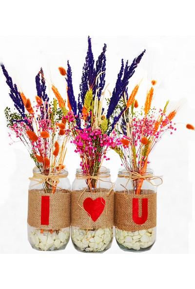 Bahçehane I Love U Kuru Çiçek Tasarımı