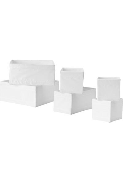 İkea Skubb Dolap Şifonyer Çekmece İçi Düzenleyici Kutu - 6 Parça - Beyaz