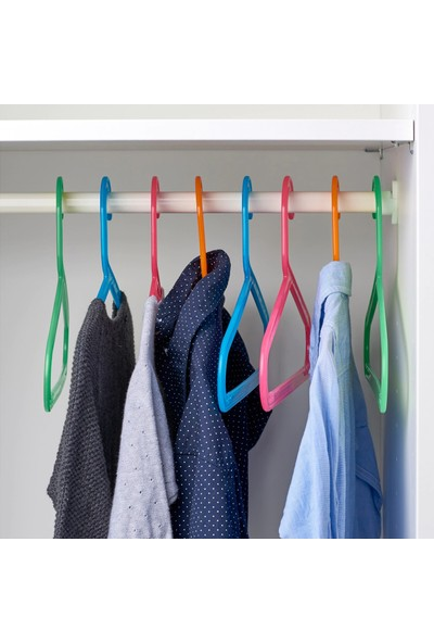 Mnsr Bagıs Çocuk Askı - Giysi - Elbise Dolap Askısı - 8 Adet - Karışık Renkli