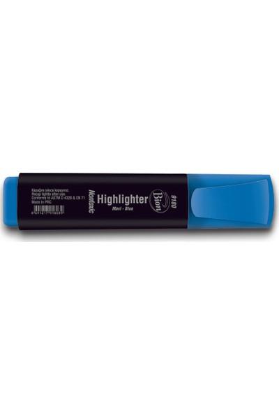 Bion 9180 Fosforlu Mavi Kalem 10Lu Kutu