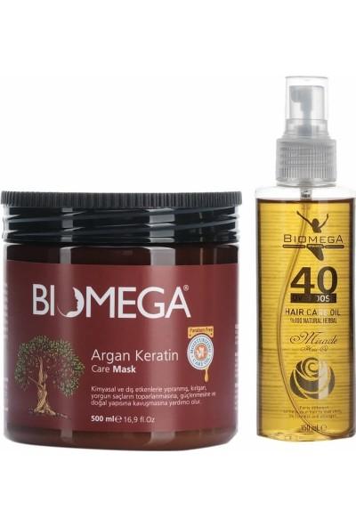 Biomega Argan Keratin Maske 500 ml + 40 Bitki Saç Yağı