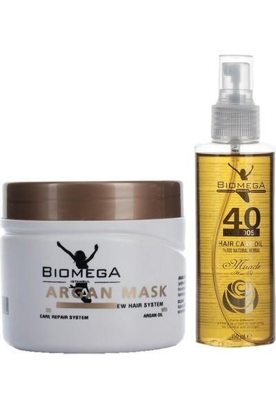 Biomega Argan Maske 500 ml + 40 Bitki Saç Yağı