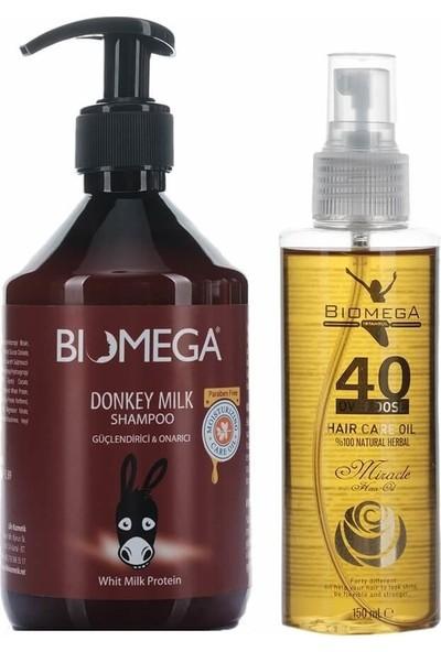 Biomega Eşek Sütü Şampuan 500 ml + 40 Bitki Saç Yağı