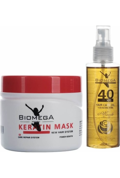 Biomega Keratin Maske 500 ml + 40 Bitki Saç Yağı