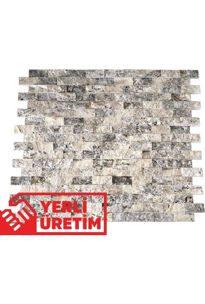 Markataş 5X10Cm Latte Silver Doğal Taş Traverten Patlatma Mozaik Duvar Kaplaması
