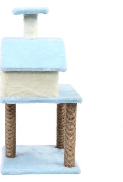 Petista Tırmalamalı Katlı Kedi Evi Mavi