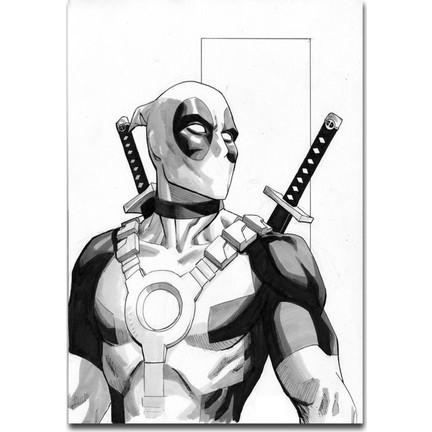 Tablo Kanvas Deadpool Karakalem çizim Tablo Fiyatı