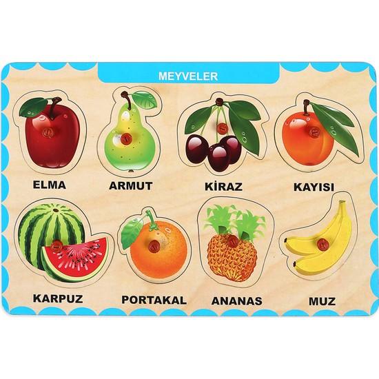 Maketçiniz Ahşap Tutmalı Eğitici Yapboz Meyveler