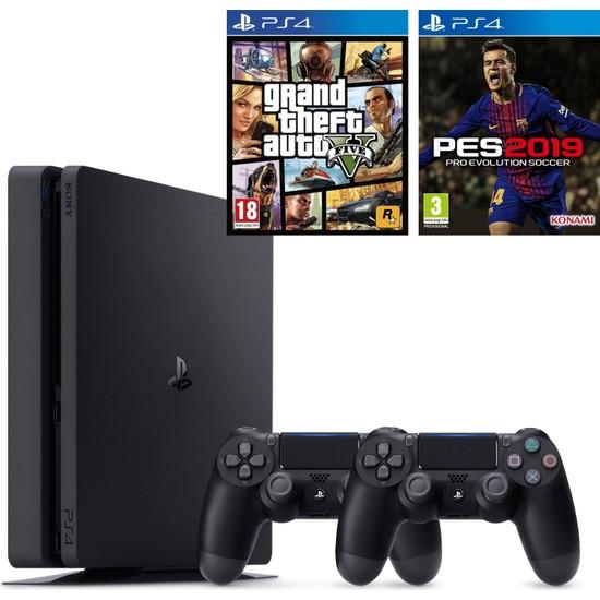 Sony PS4 Slim 1 TB Oyun Konsolu + PS4 Pes 19 + PS4 Gta 5 + 2. Kol