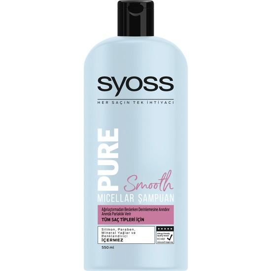 Syoss Pure Smooth Micellar Şampuan 550 ml
