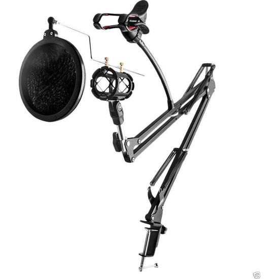 Coverzone Hareketli 3İn1 Profesyonel Mikrofon Standı + Mikrofon Pop Filtre + Telefon Tutucu