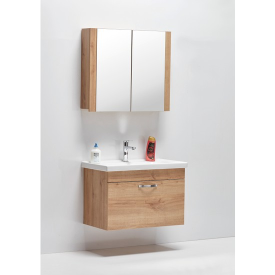 Hepsi Home Saydam Stil 60 cm Banyo Dolabı Meşe