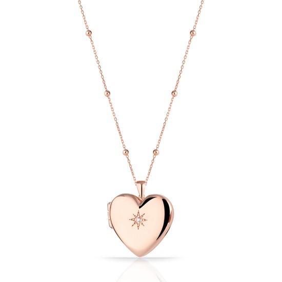 Azuris Omr1355 925 Ayar Gümüş Kapaklı Madalyon Kalp Yıldız Kolye