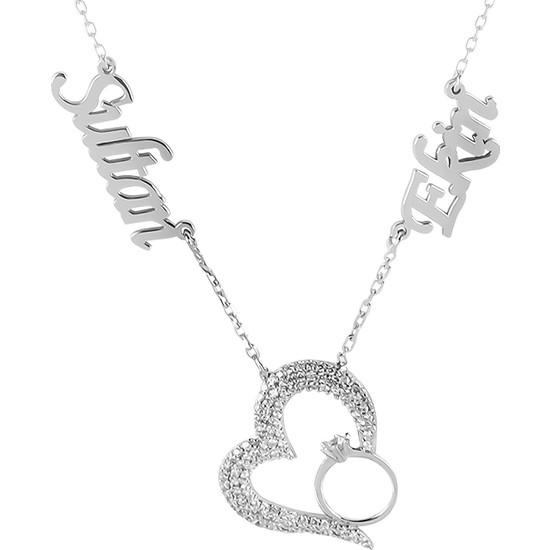 Glorria Kişiye Özel İsimli Kalp Gümüş Kolye Glr721-32122