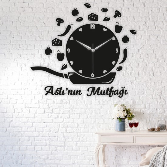 Morvizyon Mutfak Temalı Annelere Özel Ahşap Duvar Saati - L158