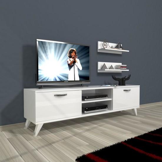 Decoraktiv Eko 150 Mdf Dvd Retro Tv Ünitesi Tv Sehpası Parlak Beyaz