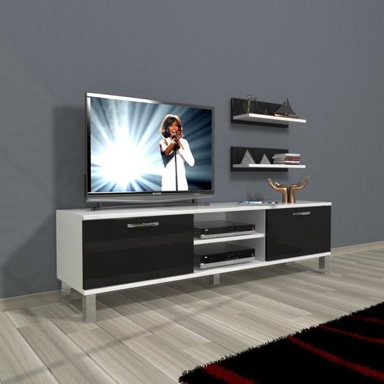 Decoraktiv Eko 150 Slm Dvd Krom Ayaklı Tv Ünitesi Tv Sehpası Beyaz Siyah