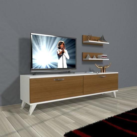 Decoraktiv Eko 150 Slm Std Retro Tv Ünitesi Tv Sehpası Beyaz Ceviz