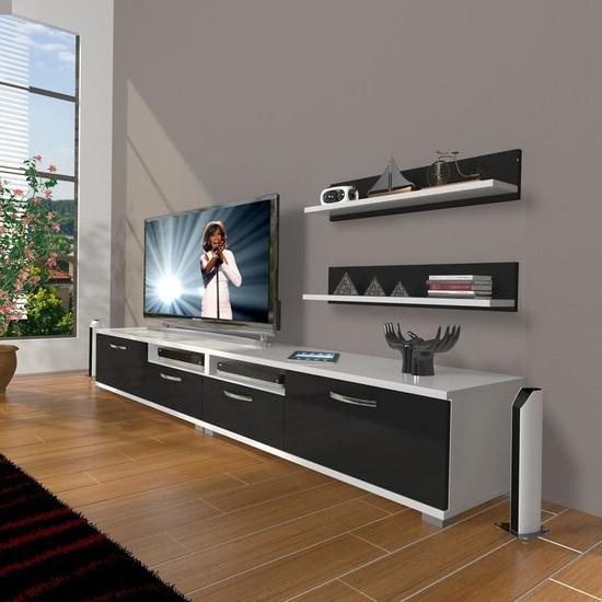 Decoraktiv Eko 220R Slm Tv Ünitesi Tv Sehpası Beyaz Siyah