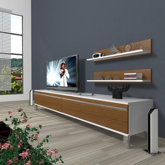 Decoraktiv Eko 4 Mdf Std Krom Ayaklı Tv Ünitesi Tv Sehpası Beyaz Ceviz