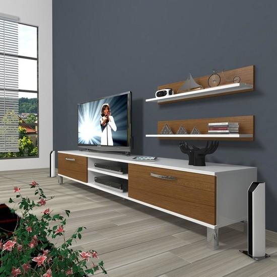 Decoraktiv Eko 4 Slm Dvd Krom Ayaklı Tv Ünitesi Tv Sehpası Beyaz Ceviz
