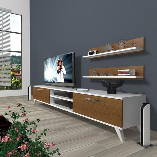 Decoraktiv Eko 4 Slm Dvd Retro Tv Ünitesi Tv Sehpası Beyaz Ceviz