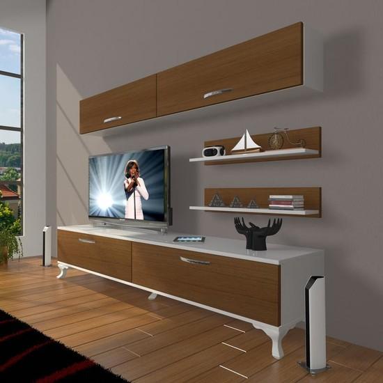 Decoraktiv Eko 5 Slm Std Rustik Tv Ünitesi Tv Sehpası Beyaz Ceviz