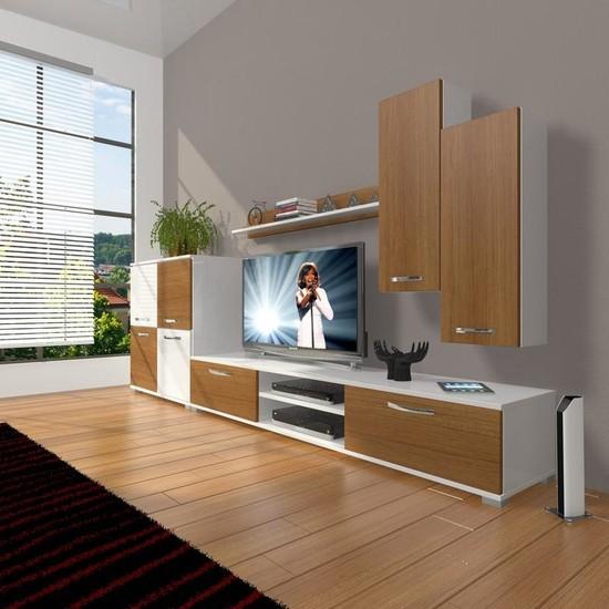 Decoraktiv Eko 6 Slm Dvd Tv Ünitesi Tv Sehpası Beyaz Ceviz