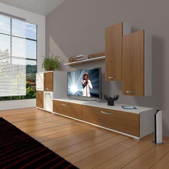 Decoraktiv Eko 6 Slm Std Tv Ünitesi Tv Sehpası Beyaz Ceviz