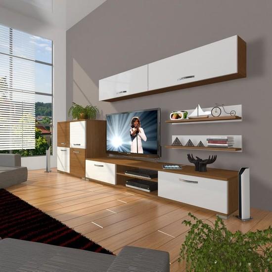 Decoraktiv Eko 6Y Slm Dvd Tv Ünitesi Tv Sehpası Ceviz Beyaz