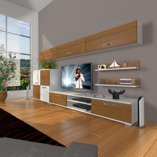 Decoraktiv Eko 8 Slm Dvd Tv Ünitesi Tv Sehpası Beyaz Ceviz