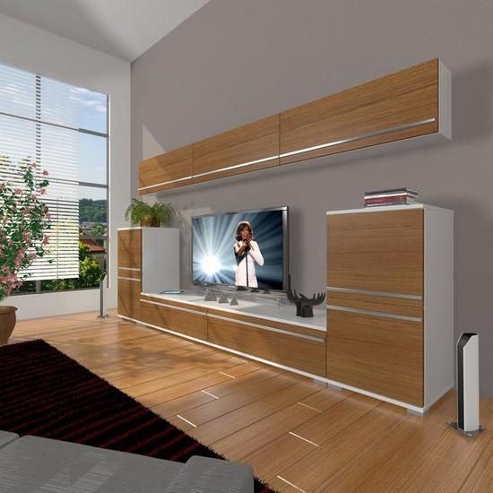 Decoraktiv Eko 9 Mdf Std Tv Ünitesi Tv Sehpası Beyaz Ceviz