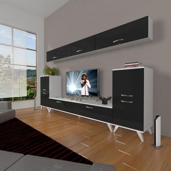 Decoraktiv Eko 9 Slm Std Retro Tv Ünitesi Tv Sehpası Beyaz Siyah