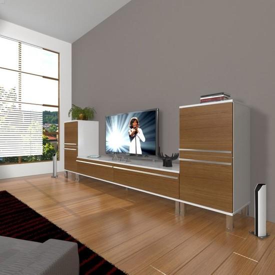 Decoraktiv Eko On2 Mdf Std Krom Ayaklı Tv Ünitesi Tv Sehpası Beyaz Ceviz