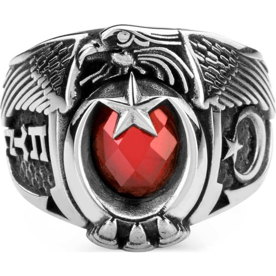 Anı Yüzük Kırmızı Taşlı Türk'Ün Kudreti Yüzüğü (Göktürkçe Türk - Ay Yıldız)