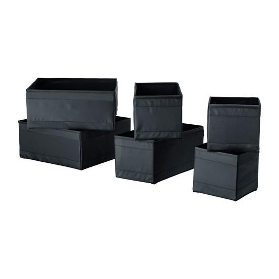 İkea Skubb Dolap Şifonyer Çekmece İçi Düzenleyici Kutu - 6 Parça - Siyah Renk