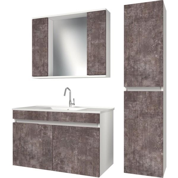 Banos Kt7 Ayaksiz 2 Kapakli Lavabolu Varsova Beyaz Mdf 100 Cm Banyo Dolabi Aynali Banyo Ust Dolabi Banyo Boy Dolabi 570 X 1000 X 455 Cm